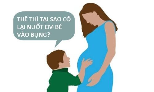 Sao cô nuốt em bé vào bụng?